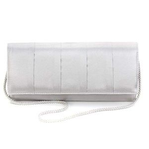 Style & Company Marcy Satin Silver Evening Bag